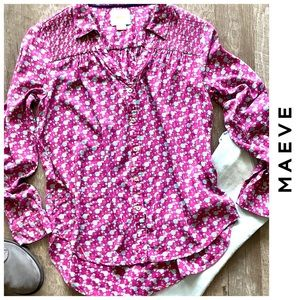 Anthropologie Maeve Button Front Long Sleeve Top